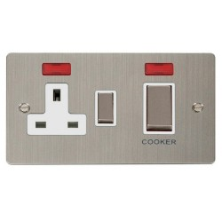 Click Define Stainless Steel Flat Plate Ingot 45A Double Pole Switch and 13A Switched Socket with Neons (2) with White Insert