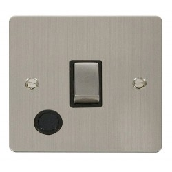 Click Define Stainless Steel Flat Plate Ingot 20A 1 Gang Double Pole Switch and Flex Outlet with Black Insert