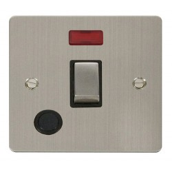 Click Define Stainless Steel Flat Plate Ingot 20A 1 Gang Double Pole Switch and Flex Outlet with Neon with Black Insert