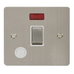 Click Define Stainless Steel Flat Plate Ingot 20A 1 Gang Double Pole Switch and Flex Outlet with Neon with White Insert