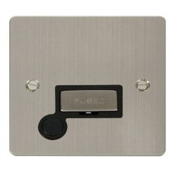 Click Define Stainless Steel Flat Plate Ingot 13A Connection Unit and Flex Outlet with Black Insert
