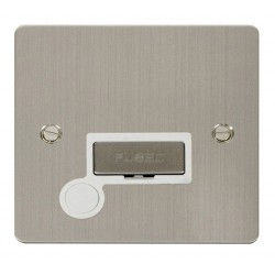 Click Define Stainless Steel Flat Plate Ingot 13A Connection Unit and Flex Outlet with White Insert