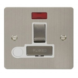Click Define Stainless Steel Flat Plate Ingot 13A Switched Connection Unit and Flex Outlet with Neon with White Insert