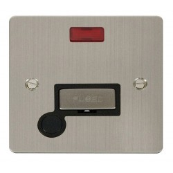 Click Define Stainless Steel Flat Plate Ingot 13A Connection Unit and Flex Outlet with Neon with Black Insert