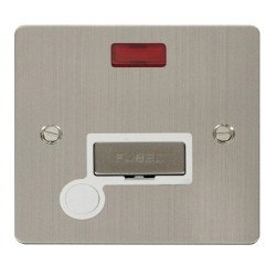 Click Define Stainless Steel Flat Plate Ingot 13A Connection Unit and Flex Outlet with Neon with White Insert