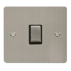 Click Define Stainless Steel Flat Plate Ingot 20A 1 Gang Double Pole Switch with Black Insert