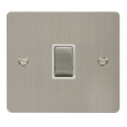 Click Define Stainless Steel Flat Plate Ingot 20A 1 Gang Double Pole Switch with White Insert
