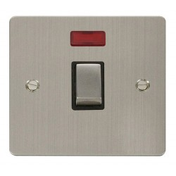 Click Define Stainless Steel Flat Plate Ingot 20A 1 Gang Double Pole Switch with Neon with Black Insert