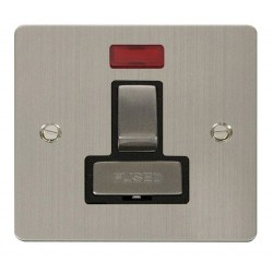 Click Define Stainless Steel Flat Plate Ingot 13A Switched Connection Unit with Neon with Black Insert