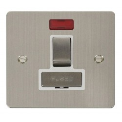 Click Define Stainless Steel Flat Plate Ingot 13A Switched Connection Unit with Neon with White Insert