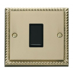Click Deco Georgian Cast Brass 1 Gang 2 Way 10AX Switch with Black Insert