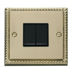 Click Deco Georgian Cast Brass 2 Gang 2 Way 10AX Switch with Black Insert