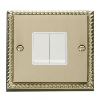 Click Deco Georgian Cast Brass 2 Gang 2 Way 10AX Switch with White Insert