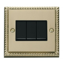 Click Deco Georgian Cast Brass 3 Gang 2 Way 10AX Switch with Black Insert