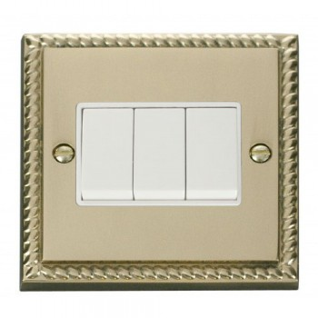 Click Deco Georgian Cast Brass 3 Gang 2 Way 10AX Switch with White Insert