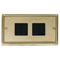 Click Deco Georgian Cast Brass 4 Gang 2 Way 10AX Switch with Black Insert