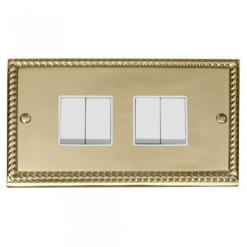 Click Deco Georgian Cast Brass 4 Gang 2 Way 10AX Switch with White Insert