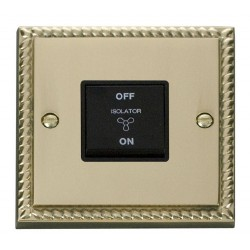 Click Deco Georgian Cast Brass 10A 1 Gang 3 Pole Fan Isolation Switch with Black Insert