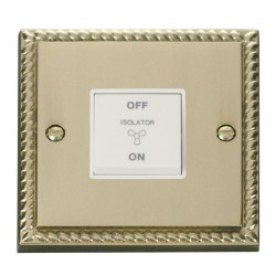 Click Deco Georgian Cast Brass 10A 1 Gang 3 Pole Fan Isolation Switch with White Insert