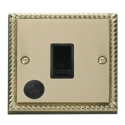Click Deco Georgian Cast Brass 20A 1 Gang Double Pole Switch With Flex Outlet with Black Insert