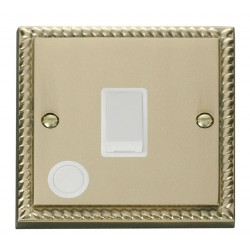 Click Deco Georgian Cast Brass 20A 1 Gang Double Pole Switch With Flex Outlet with White Insert