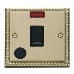 Click Deco Georgian Cast Brass 20A 1 Gang Double Pole Switch With Flex Outlet And Neon with Black Insert