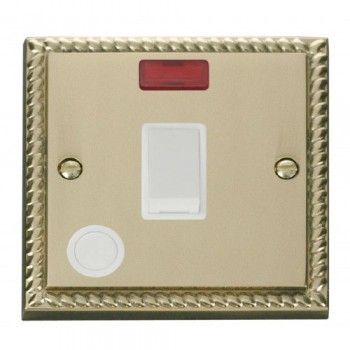 Click Deco Georgian Cast Brass 20A 1 Gang Double Pole Switch With Flex Outlet And Neon with White Insert