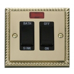 Click Deco Georgian Cast Brass 20A Double Pole Sink/Bath Switch with Black Insert