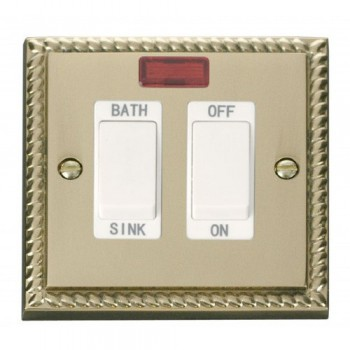 Click Deco Georgian Cast Brass 20A Double Pole Sink/Bath Switch with White Insert