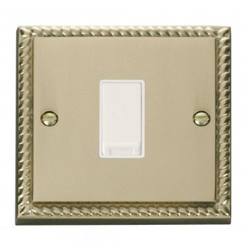 Click Deco Georgian Cast Brass 1 Gang Intermediate 10AX Switch with White Insert