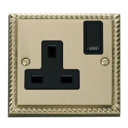 Click Deco Georgian Cast Brass 1 Gang 13A Double Pole Switched Socket Outlet with Black Insert