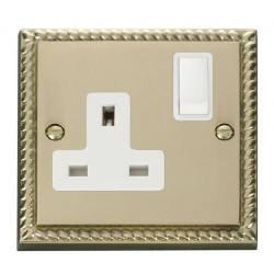 Click Deco Georgian Cast Brass 1 Gang 13A Double Pole Switched Socket Outlet with White Insert