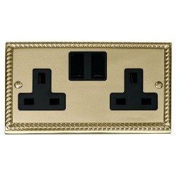 Click Deco Georgian Cast Brass 2 Gang 13A Double Pole Switched Socket Outlet with Black Insert