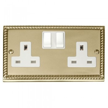 Click Deco Georgian Cast Brass 2 Gang 13A Double Pole Switched Socket Outlet with White Insert