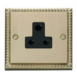 Click Deco Georgian Cast Brass 5A Round Pin Socket Outlet with Black Insert