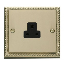 Click Deco Georgian Cast Brass 2A Round Pin Socket Outlet with Black Insert