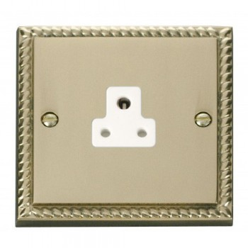 Click Deco Georgian Cast Brass 2A Round Pin Socket Outlet with White Insert