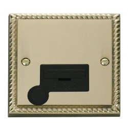 Click Deco Georgian Cast Brass 13A Fused Connection Unit With Flex Outlet with Black Insert
