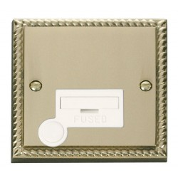 Click Deco Georgian Cast Brass 13A Fused Connection Unit With Flex Outlet with White Insert