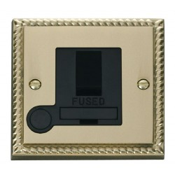 Click Deco Georgian Cast Brass 13A Fused Switched Connection Unit With Flex Outlet with Black Insert