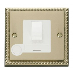 Click Deco Georgian Cast Brass 13A Fused Switched Connection Unit With Flex Outlet with White Insert