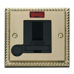 Click Deco Georgian Cast Brass 13A Fused Switched Connection Unit With Flex Outlet with Neon with Black Insert