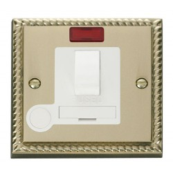 Click Deco Georgian Cast Brass 13A Fused Switched Connection Unit With Flex Outlet with Neon with White Insert