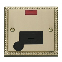 Click Deco Georgian Cast Brass 13A Fused Connection Unit With Flex Outlet with Neon with Black Insert