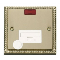 Click Deco Georgian Cast Brass 13A Fused Connection Unit With Flex Outlet with Neon with White Insert