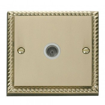 Click Deco Georgian Cast Brass Single Coaxial Socket Outlet with White Insert