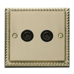 Click Deco Georgian Cast Brass Twin Coaxial Socket Outlet with Black Insert