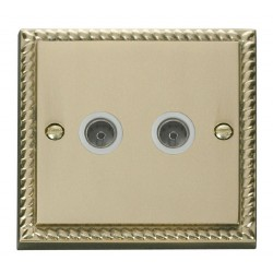 Click Deco Georgian Cast Brass Twin Coaxial Socket Outlet with White Insert