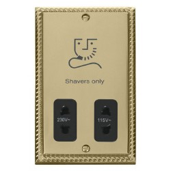 Click Deco Georgian Cast Brass Dual Voltage Shaver Socket Outlet 115/230V with Black Insert