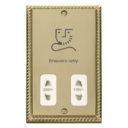 Click Deco Georgian Cast Brass Dual Voltage Shaver Socket Outlet 115/230V with White Insert